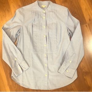 J.Crew Classic Blue Button Down with front ruffle